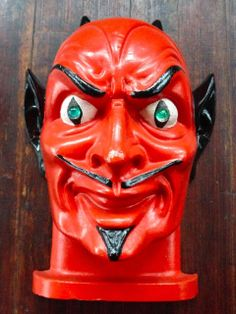 """Very rare 1949 Bayshore Cast Metal Devil Mask Mold 12"""" x 9"""" x 6"""". Though this isn't really a store display lantern, because it was professionally enamelled and fired probably some time after the design was retired, it's a retail showpiece, hence my inclusion on this board. This may have hung in a showroom or owner's home."""