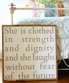 """Smallwoods - WOOD SIGNS - Wood Signboard - She Is Clothed (28""""x28"""")  - 1"""