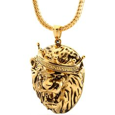 King Ice - Roaring Lion Necklace (14K Gold Plated) - Hip Hop... (405 RON) ❤ liked on Polyvore featuring jewelry, necklaces, gold plated necklace, lion necklace, 14k jewelry, lion pendant necklace and lion jewelry