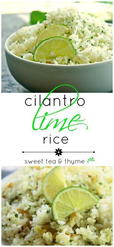 Cilantro Lime Rice -Cilantro Lime Rice will change your rice game for good! It brings a new layer of flavor to your burrito bowls. And we all know layering flavors will result in a cult following. Right, Chipotle? www.sweetteaandthyme.com