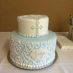 "Photo of Cakes by Request - ""Sons baptism cake. I was as usual, very pleased"" - Yuba City, CA Christening Cake Boy, Baby Boy Baptism, Baptism Party, Baptism Ideas, Boy Communion Cake, Dedication Cake, Baptism Cookies, Religious Cakes, Bolo Minnie"