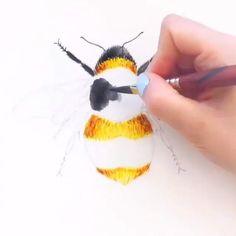 Watercolor Paintings For Beginners, Beginner Painting, Watercolour Tutorials, Bee Painting, Painting & Drawing, China Painting, Painting Lessons, Painting Tips, Watercolor Animals