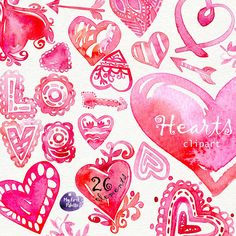Watercolor Hearts Clipart. Valentine's Day Watercolor, Love, 14th February, 400 dpi PNG, transparent background for scrapbooking, DIY cards by MyFirstPalette on Etsy https://www.etsy.com/uk/listing/495914874/watercolor-hearts-clipart-valentines-day