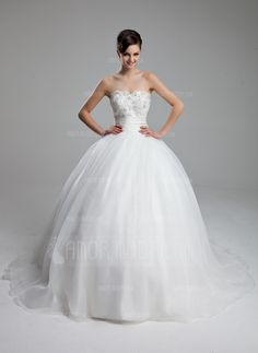 Ball-Gown Sweetheart Court Train Organza Satin Wedding Dress With Ruffle Lace Beadwork (002011973)