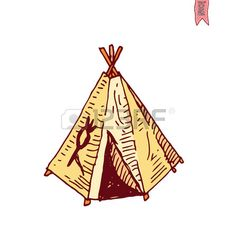 indian brave: cartoon indian tent  vector illustration.