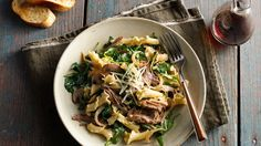If you've never thought of putting pulled pork and pasta together, prepare yourself for a hearty, heavenly plate of perfection that you can have on the table in half an hour. Use 2 cups of Make-Ahead Oven-Roasted Pulled Pork for super-speedy prep! Pulled Pork Pasta, Oven Roasted Pulled Pork, Pork Recipes, Pasta Recipes, Dinner Recipes, Cooking Recipes, Zoodle Recipes, Chicken Recipes, Caramelized Onions And Mushrooms