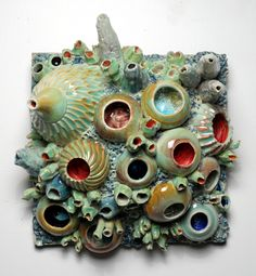 Ceramic Reef Hangings by artist Diane Lublinski --- could be a great intro to wheel project-  gets kids experimenting with the wheel, and any project they make (even if it's wonky) can be attached to a tile slab.