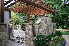 Pergola with stone wall                                                                                                                                                           Garden Pergolas Pictures                                                ..