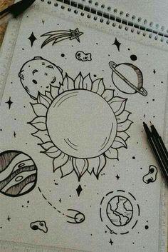 Space Drawings, Art Drawings Sketches Simple, Pencil Art Drawings, Drawing Ideas, Tumblr Drawings Easy, Drawing Tricks, Beautiful Drawings, Good Easy Drawings, Adorable Drawings