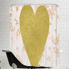 House of Hampton Grossular Gold Heart on Floral Shower Curtain
