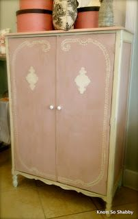 Antique Wardrobe painted in Annie Sloan Chalk Paint ™ Antoinette and Old White at Knott So Shabby www.knottsoshabby.com