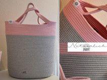 Tasche Baumwolle groß hellgrau rosa DUO 23
