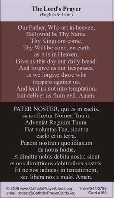 Our Father Prayer Card (Latin/English) Catholic Religion, Catholic Quotes, Catholic Prayers, Religious Quotes, Latin Quotes, Latin Phrases, Our Father Prayer, My Prayer, English Prayer