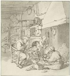 Cornelis Ploos van Amstel | Boerengezin bij schoorsteen, Cornelis Ploos van Amstel, Adriaen van Ostade, 1767 - 1821 | Interieur met een gezin rond de schoorsteen. Een moeder voedt haar baby.