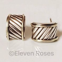 David Yurman Original Clic Cable Thoroughbred Cigar Band Earrings Dy 925 Sterling Silver 585 14k Yellow Gold Free Us Shipping