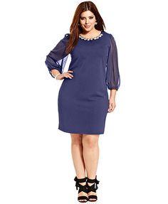 Ruby Rox Plus Size Three-Quarter-Sleeve Embellished-Neck Dress