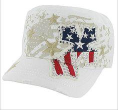 Cowgirl Bling Ranch, LLC - Rhinestone Flag Cross Cadet Cap White, $15.99 (http://www.cowgirlblingranch.com/rhinestone-flag-cross-cadet-cap-white/)