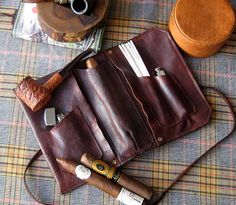 Clemens Leather Cigar Pipe & Tobacco Pouch  by SorringowlandSons, $95.00
