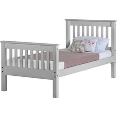 The Monaco Single Grey Bed is a very well priced bed frame in the currently fashionable Grey finish. - Monaco Grey Single Bed with High Foot End - - Seconique