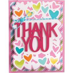 Sizzix Framelits Die Set 4PK Card Thank You Drop ins by Stephanie Barnard