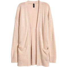 Knit Cardigan $24.99 (326.520 IDR) ❤ liked on Polyvore featuring tops, cardigans, drop shoulder tops, pink long sleeve top, pink knit cardigan, knit top and pink knit top