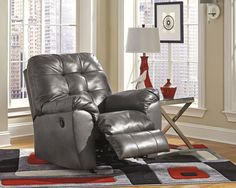 """The color pallet is amazing.  The Signature Design """"Alliston"""" rocker recliner features rich DuraBlend® upholstery to beautifully enhance the sleek contemporary design without sacrificing the comfort you desire."""