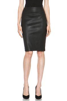 Diane von Furstenberg Marta Stretch Leather Skirt in Black