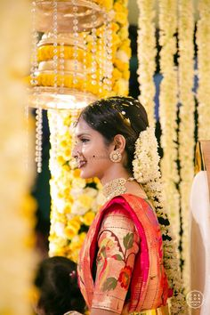 Photo from Manasa & Subhram Wedding Half Saree Lehenga, Saree Dress, Sari, Indian Bridal Sarees, Indian Bridal Outfits, Half Saree Designs, Bridal Blouse Designs, Bridal Makeup Looks, Bridal Looks