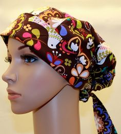Tie Back Pleated back Surgical Scrub Hat