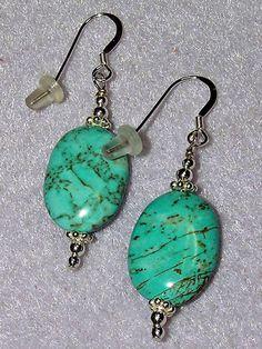 925 Silver Oval Turquoise Dangle Earrings