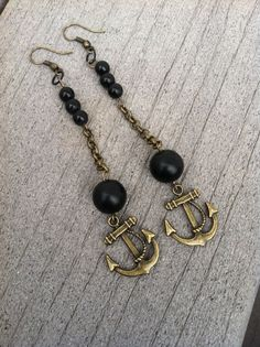 Sailor Jerry  Long Brass Chain and Anchor Earring by RissyRoos, $9.25