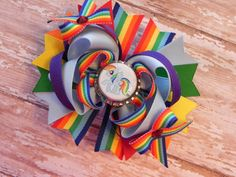 My Little Pony Rainbow Dash Boutique Layered Bottle Cap Hair Bow - OTT over the top - by sweetteabowtique $7.99
