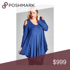"""Coming today! (Plus) Blue cold shoulder top Cold shoulder top. 95% rayon/ 5% spandex. Very soft and flowy! Bust easily stretches well beyond measurements  1x: L: 36"""" B: 38"""" 2x: L: 36"""" B: 40"""" 3x: L: 37""""  B: 42"""" ⭐️This item is brand new from manufacturer without tags.  🚫NO TRADES 💲Price is firm unless bundled 💰Ask about bundle discounts Availability: 1x•2x•3x 2•2•2 Tops"""