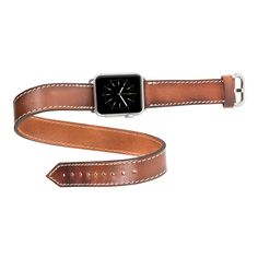 Burkley Double Tour Genuine Leather Band for Apple Watch 38mm in Rustic Brown - Burkleycase