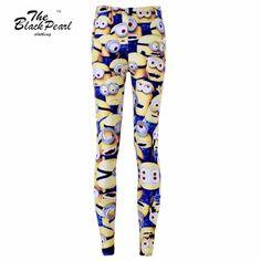 Free ship New Hot 2015 Women Sport Pants Womens Trousers Fashion Minions Cartoon Animation  Pant Capris Cute sportswear Fitness