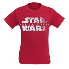 This heather-red 'Star Wars: The Last Jedi' t-shirt for men features an X-Wing and A-Wing Fighters flying across a Last Jedi logo that scatters in their wake. Red Lightsaber, Star Wars Love, Star Wars Merchandise, Star Wars Tshirt, Last Jedi, Dreamworks, Light In The Dark, Funko Pop, Funny Tshirts