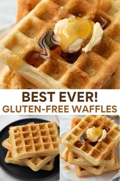 This quick and simple gluten-free waffle recipe makes the best light and crispy homemade waffles. Made with easy-to-find ingredients, it's sure to become your go-to recipe! Gluten Free Waffles, Gluten Free Oatmeal, Oatmeal Waffles, Pancakes And Waffles, Almond Flour Pizza Crust, Homemade Waffles, Good Healthy Recipes, Delicious Recipes, Breakfast Recipes