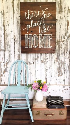 There's No Place Like Home - Reclaimed Barn Wood Sign- Planked Typography…