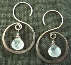 Moonstone and sterling silver handhammered S by ARTdesignsbyannart, $42.00