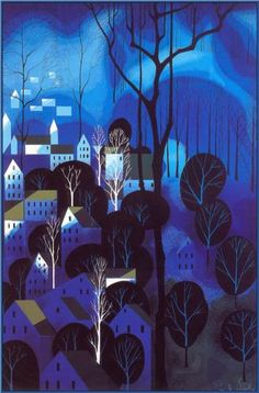 Midnight Blue - Eyvind Earle  The style of the trees looks familiar to me...