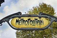 Picture of Famous Art Nouveau sign for the Metropolitain underground system in Paris stock photo, images and stock photography. Art Nouveau, Photos Du, Stock Photos, Website Images, Famous Art, Music Files, Paris, Signs, Pictures