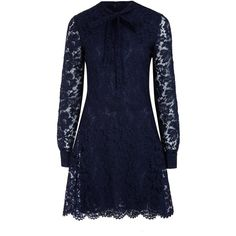Valentino Navy Pussy-Bow Fit and Flare Lace Dress ($3,625) ❤ liked on Polyvore featuring dresses, vestidos, long sleeve short dress, navy blue dress, long-sleeve mini dress, blue cocktail dress y lace cocktail dress