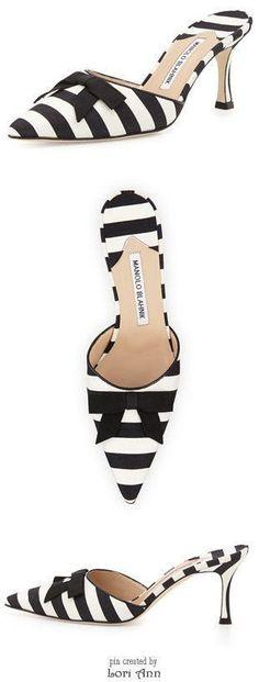 Manolo Blahnik Carolyne Mid-Heel Striped Fabric Slide #manoloblahnikheelsfashion #manoloblahnikheelsladiesshoes