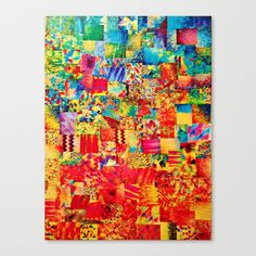 PAINTING THE SOUL - Vibrant Collage Mixed Abstract Acrylic Watercolor Painting Rainbow Colorful Art Stretched Canvas by EbiEmporium - $85.00