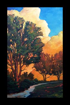 Impressionist Art Oil Landscape Western Moon tonalist by ARTpaco, $225.00