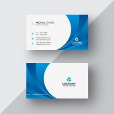 Blue and white business card Free Psd Business Cards Layout, Metal Business Cards, Blank Business Cards, Letterpress Business Cards, Free Business Card Templates, Custom Business Cards, Business Card Design, Visiting Card Design, Bussiness Card