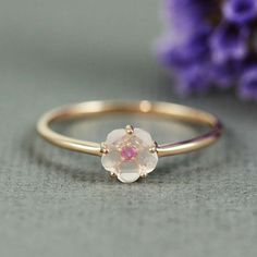 Pink Gold Rose Quartz & Ruby Flower Ring  gemstone by tooriginal, $48.00