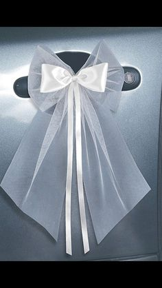 satin bow and tulle - New Deko Sites Foto Wedding, Wedding Bows, Wedding Prep, Diy Wedding, Wedding Day, Pew Decorations, Wedding Car Decorations, Bridal Car, Wedding Planning