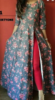 Tall girls out there this is a perfect Anarkali kurti for u A single side slit anarkali Cost of dis dress plz Must have for that oomph in your wardrob For Foral design Indian Fashion Dresses, Dress Indian Style, Indian Designer Outfits, Pakistani Dresses, Indian Outfits, Designer Dresses, Fashion Outfits, Long Dress Design, Stylish Dress Designs
