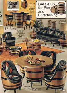9 Simple and Ridiculous Tricks: Vintage Home Decor Retro Kitchen Dining classy vintage home decor couch.Southern Vintage Home Decor vintage home decor chic mason jars.Vintage Home Decor Boho Interiors. Bares Y Pubs, Whiskey Barrel Furniture, Wine Barrel Chairs, Barris, 1970s Decor, Bois Diy, Décor Antique, Retro Home, Living Room Chairs